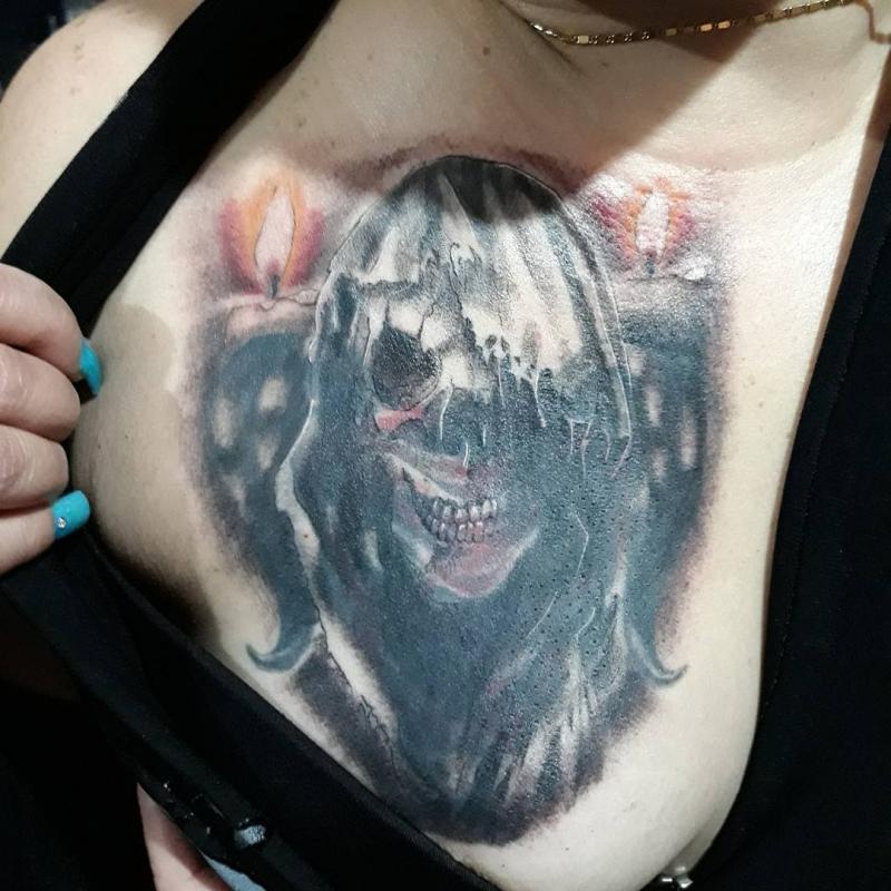 Santa muerte tatuaje realizado por Luis Enrique Tattoo