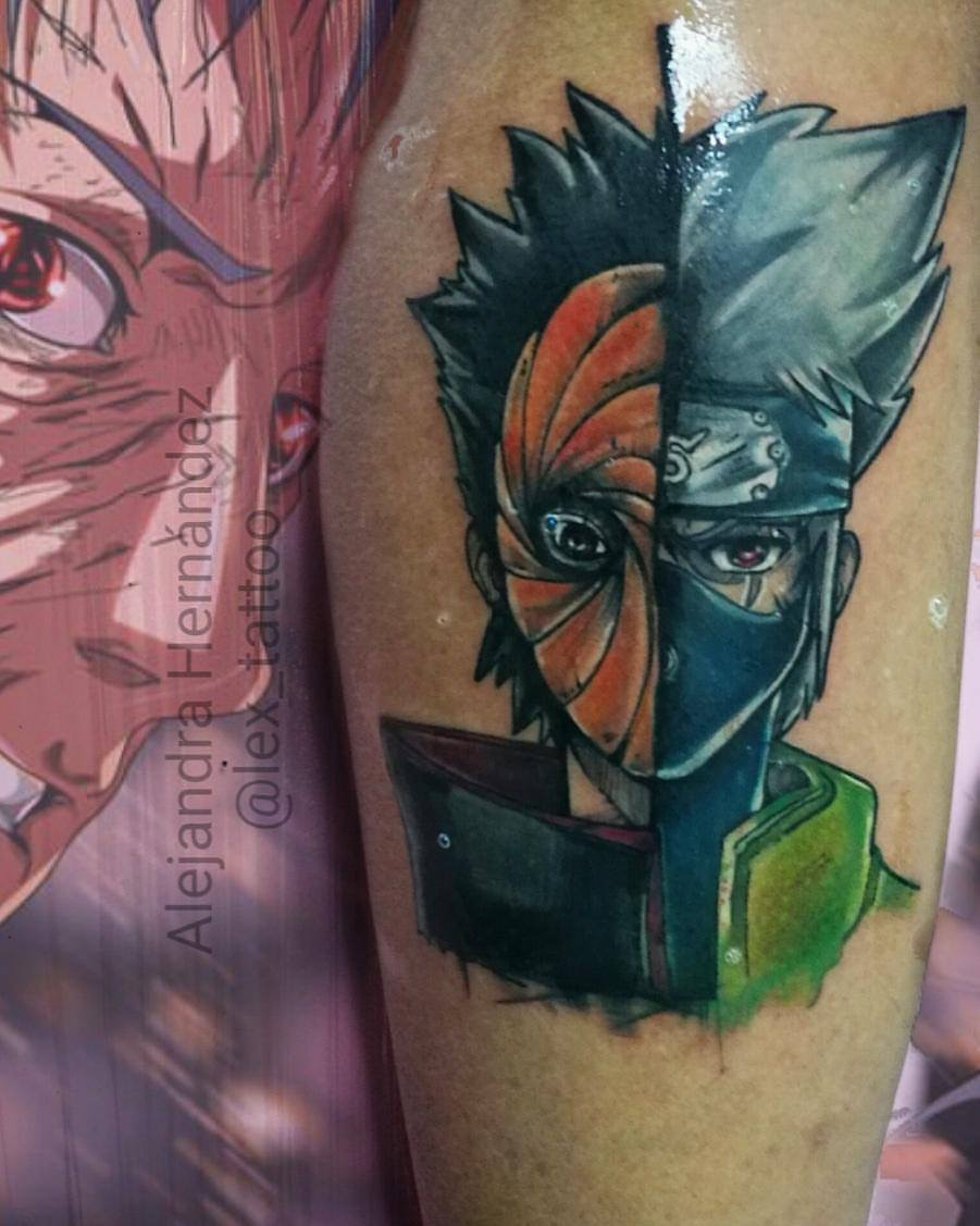 Kakashi y obito tatuaje realizado por Alejandra Hernández