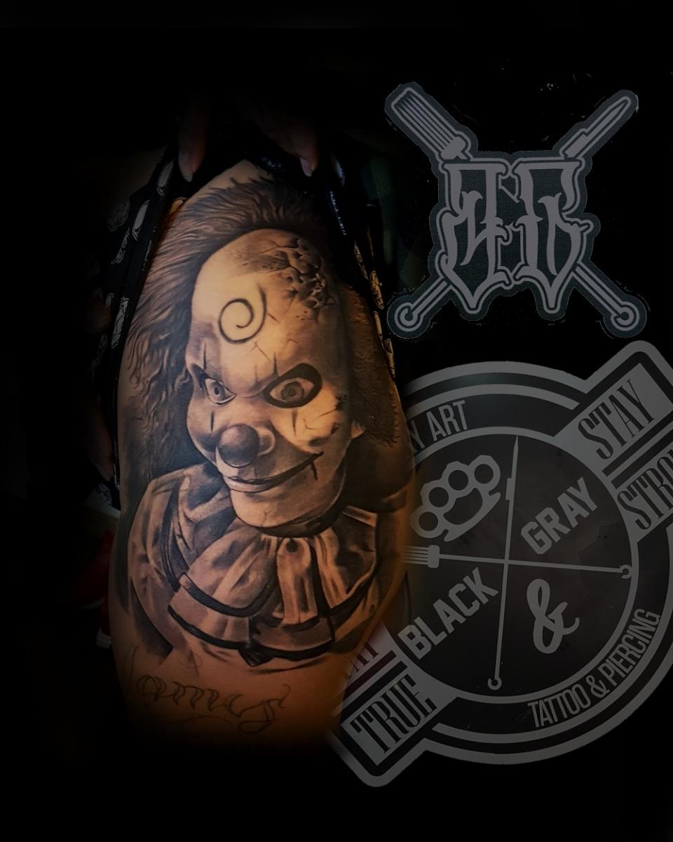 Payaso ???? tatuaje realizado por Miguel BlackandGray