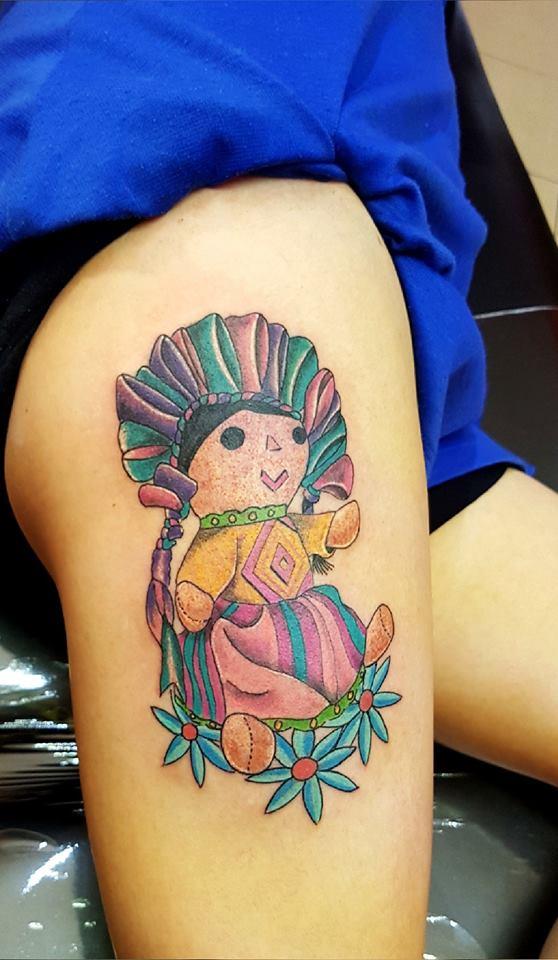 muñeca queretana  tatuaje realizado por The inkperfect tattoo shop