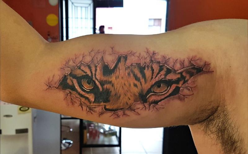 tigre ojos  tatuaje realizado por The inkperfect tattoo shop