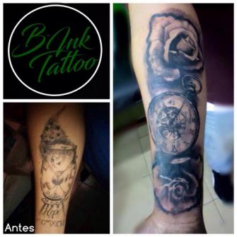 Cover Up Rosas  tatuaje realizado por B-Ink Tattoo