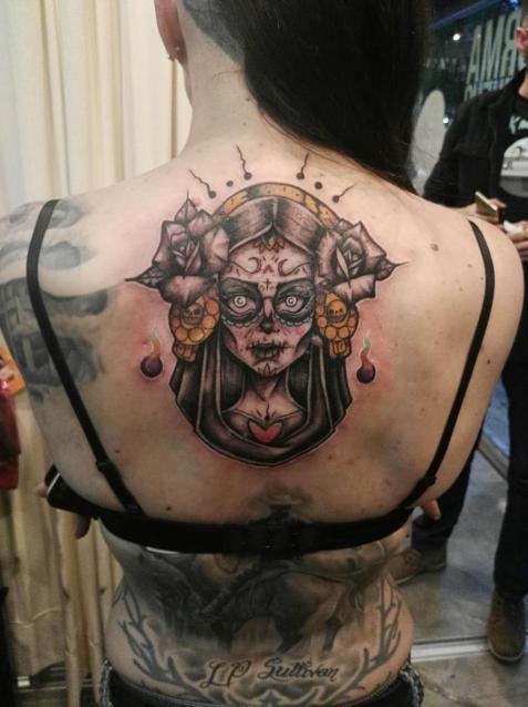 Santa catrina  tatuaje realizado por Santo Lobo Ink