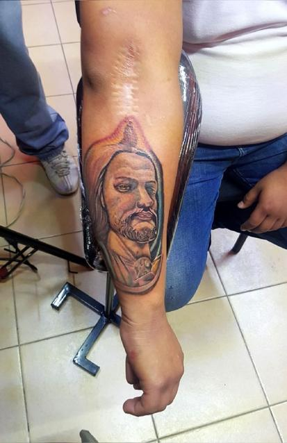 san juditas tadeo  tatuaje realizado por The inkperfect tattoo shop