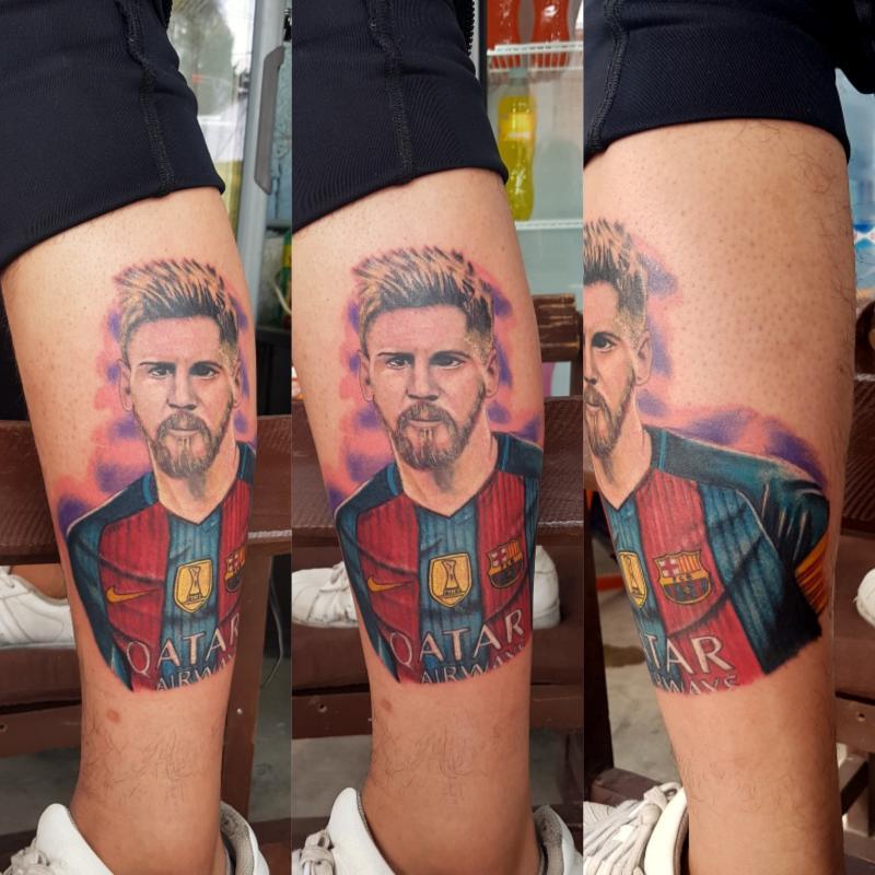 Rostro messi tatuaje realizado por The inkperfect tattoo shop