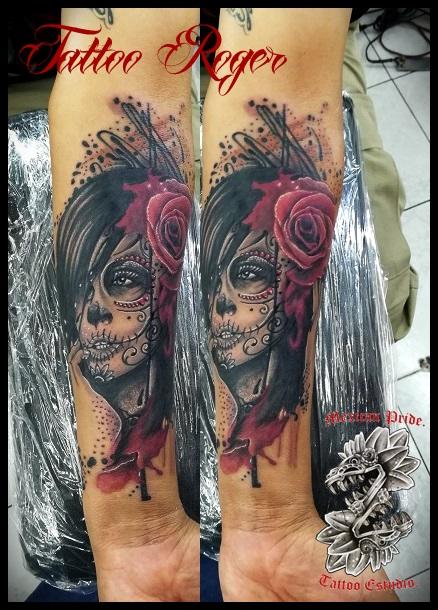 catrina  tatuaje realizado por Roberto Girón