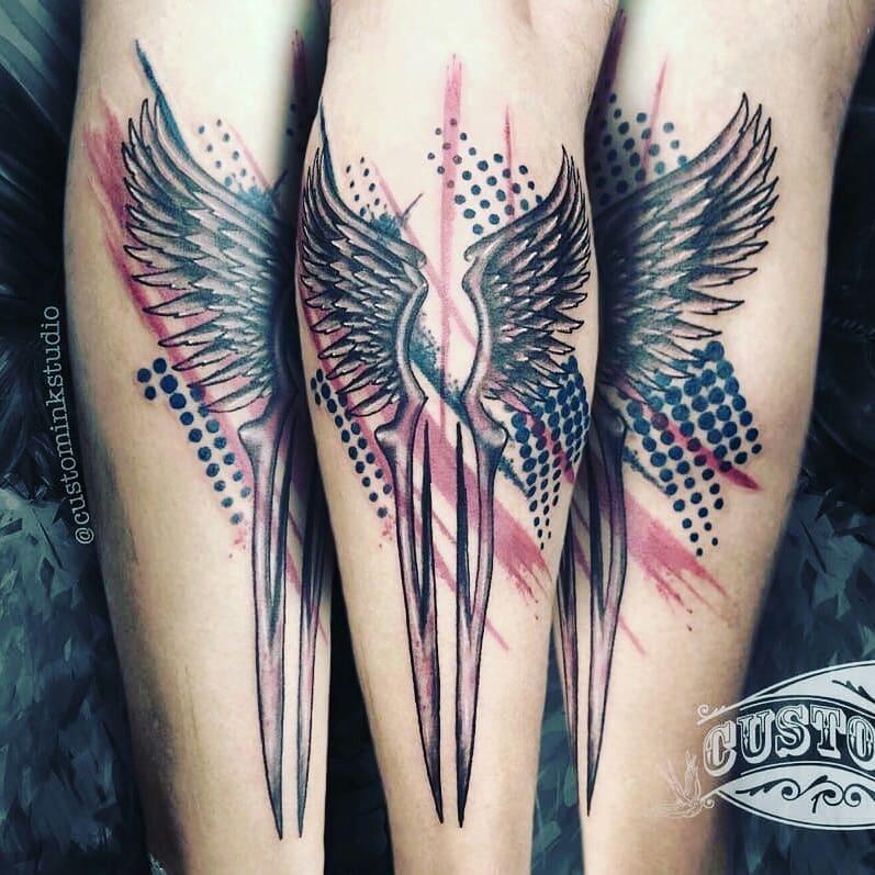 Alas tatuaje realizado por Ivan Juárez