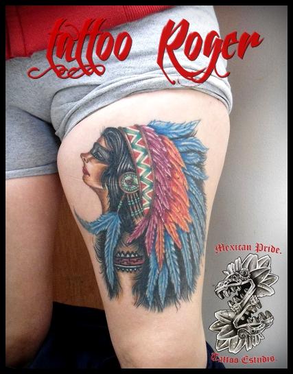 india a color tatuaje realizado por Roberto Girón