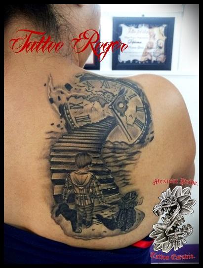 camino al cielo  tatuaje realizado por Roberto Girón