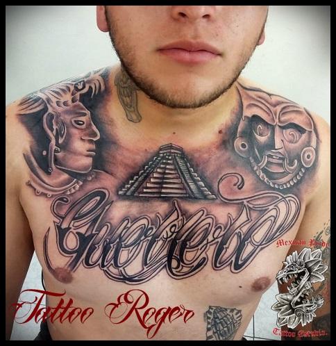 prehispanico  tatuaje realizado por Roberto Girón