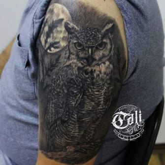 buho en el brazo tatuaje realizado por Cali Cetina