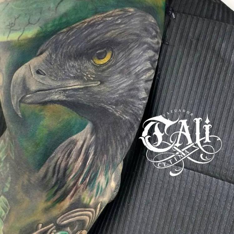 aguila en el brazo tatuaje realizado por Cali Cetina