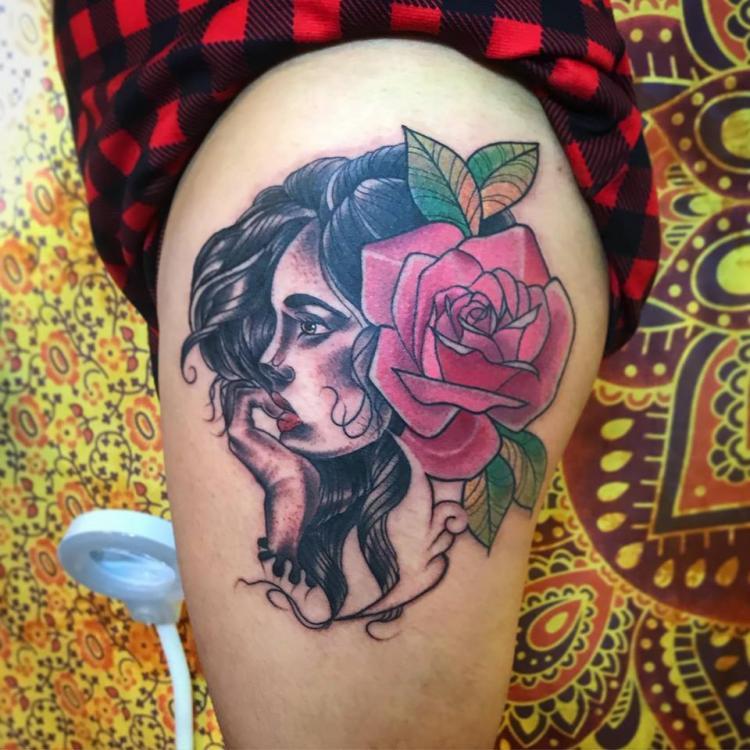 PRINCESA  tatuaje realizado por Edgar Constantino flores (Tino)