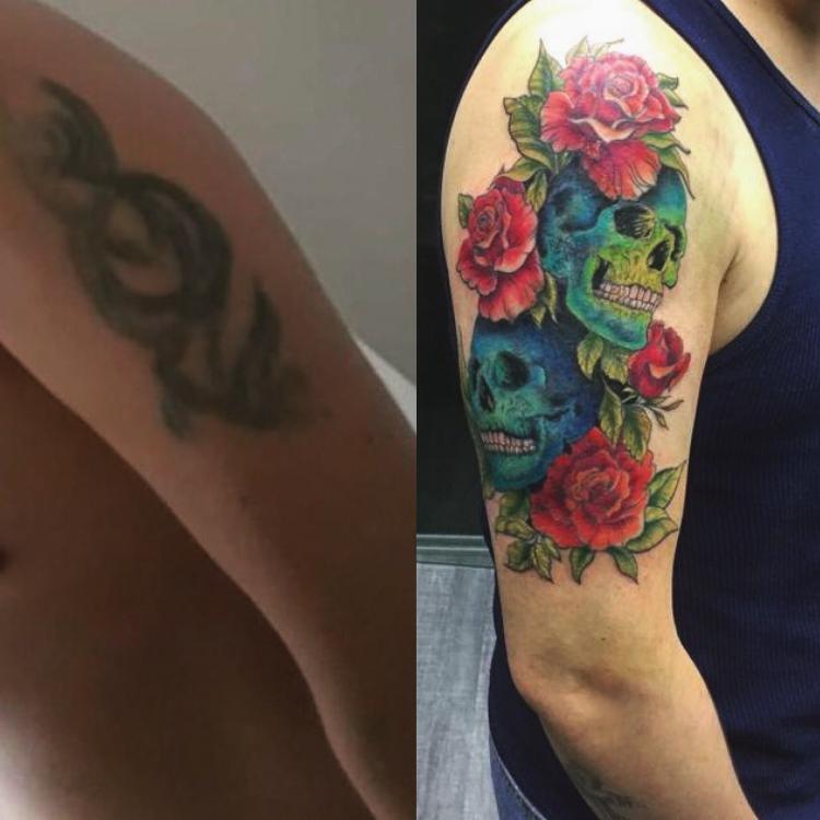 CoverUp tattoo tatuaje realizado por SOHO CUSTOM TATTOO
