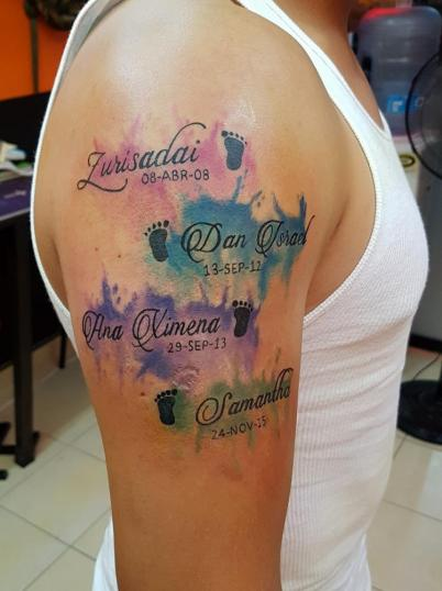 Letras  tatuaje realizado por The inkperfect tattoo shop