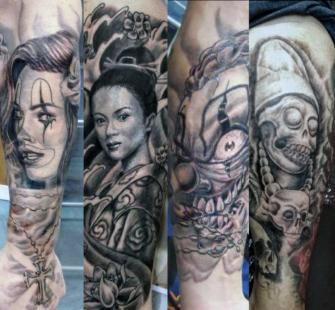 Trabajos en sombras  tatuaje realizado por West