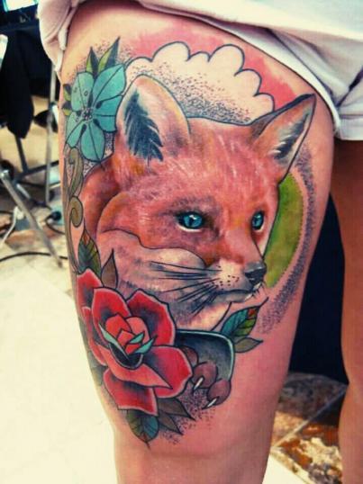 zorro  y rosa tatuaje realizado por Victor Hugo Avalos / Cachorro