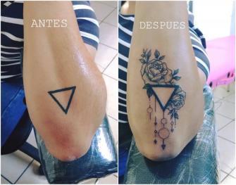 Rosas en triangulo  tatuaje realizado por Omar Mendoza