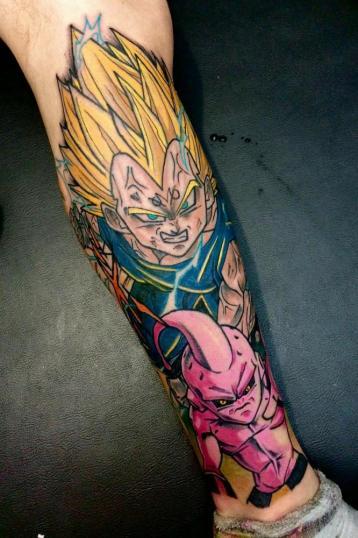 Majin Vegeta y Majin Buu tatuaje realizado por Maneki Neko Tattoo MX