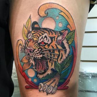 TIGRE  tatuaje realizado por Edgar Constantino flores (Tino)