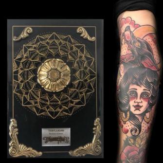 MUJER Y LOBO  tatuaje realizado por Edgar Constantino flores (Tino)