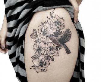 Petirrojo tatuaje realizado por Mario TORRES
