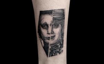 Edward Scissorhands/Mad Hatter tatuaje realizado por Mario TORRES