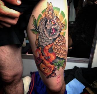 Búho ????  tatuaje realizado por Izrael VG