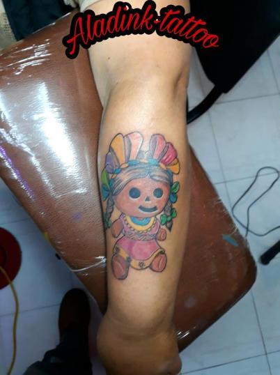 Muñequita de trapo tatuaje realizado por Blas Aladid Maya