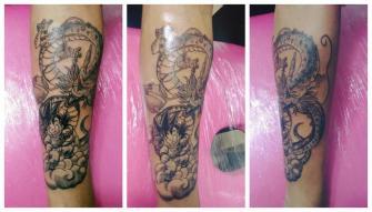 Goku Y Shen Long  tatuaje realizado por Omar Mendoza