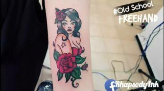 Ilustración a Mano sin Stencil tatuaje realizado por RhapsodyInk