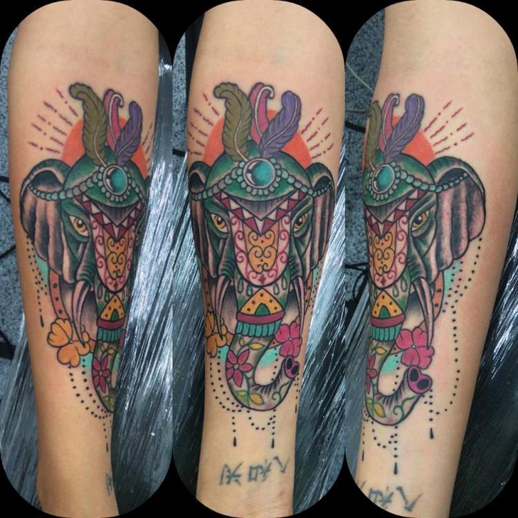 color tatuaje realizado por Rene pacheco