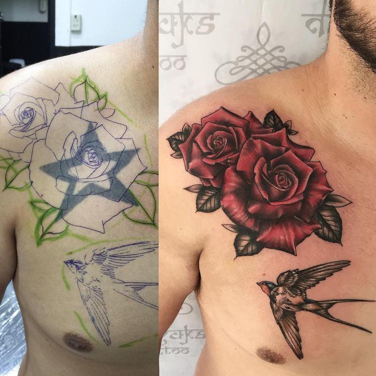 Flor con golondrina tatuaje realizado por Rolando Castillejos