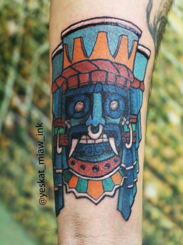 Tlaloc tatuaje realizado por Yeskat