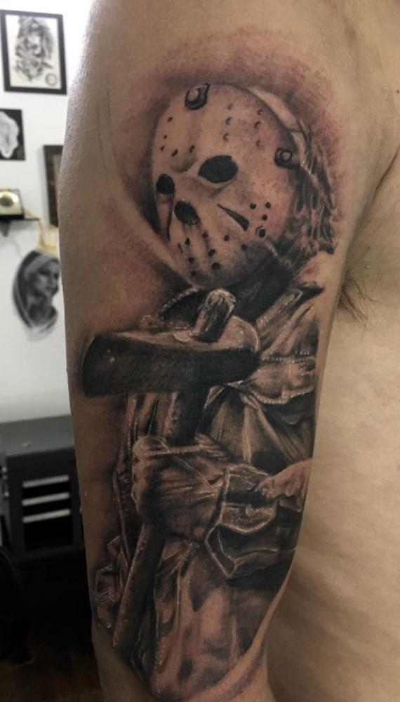 Jason  tatuaje realizado por Moreno Ivan (Droes)