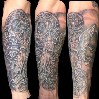 angel tatuaje realizado por Rene pacheco