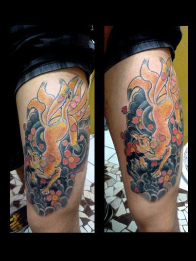 kitsune tatuaje realizado por Garo Lozada