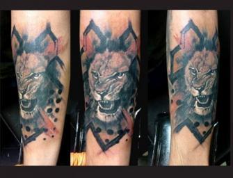 leon tatuaje realizado por Garo Lozada