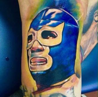 Blue Demon tatuaje realizado por Paulino Vergara (Mono)