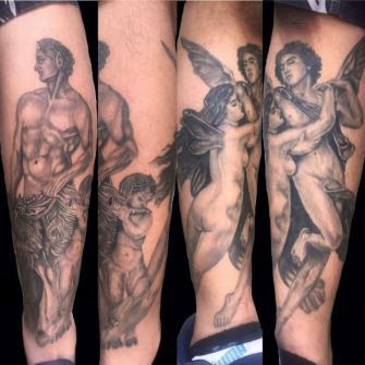 cupido y satiro tatuaje realizado por Rene pacheco