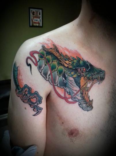 dragon tatuaje realizado por Garo Lozada