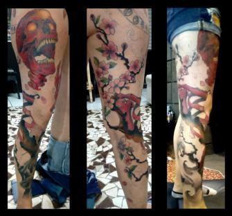 full leg tatuaje realizado por Garo Lozada