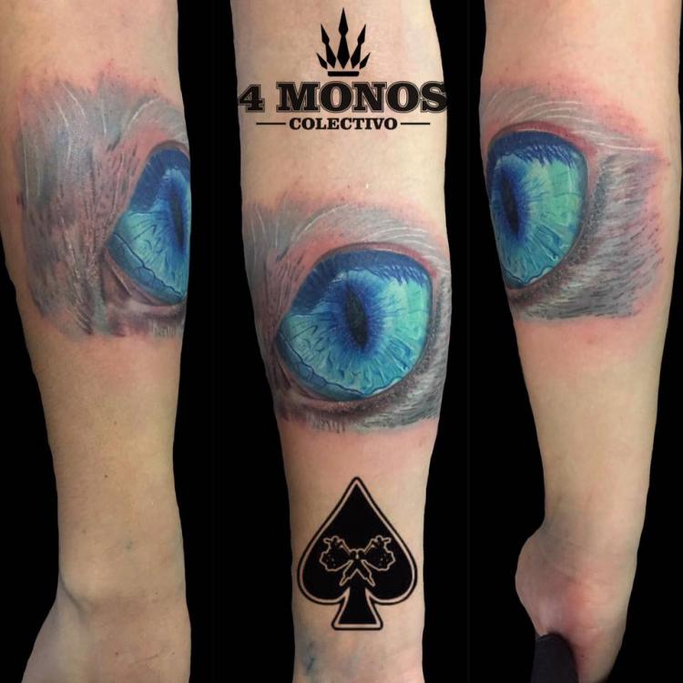 un ojo de gato tatuaje realizado por Uriel Martínez