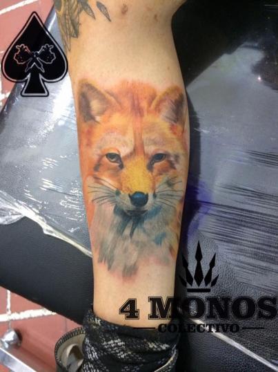 zorro tatuaje realizado por Uriel Martínez