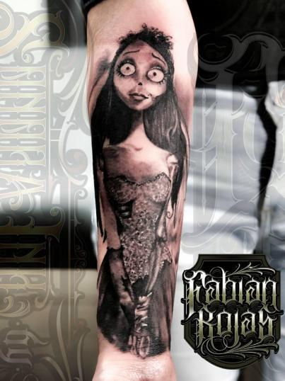 El cadáver de la novia tatuaje realizado por Fabian Rojas