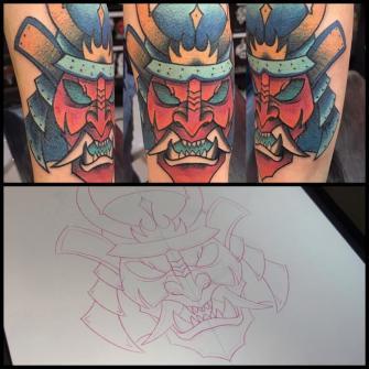 Samurai tatuaje realizado por Edgar Salazar