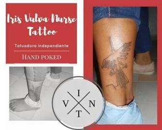 Lineas de Nazca Pajaro tatuaje realizado por Iris Vulva Nurse