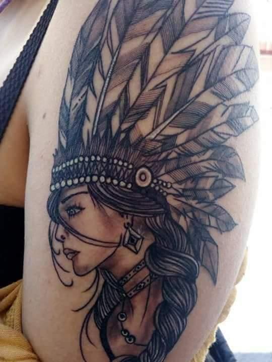 India tattoo Black  tatuaje realizado por Garabatos Peralta