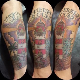 faro tattoo tatuaje realizado por Rene pacheco