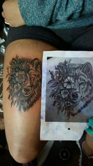 Lobo Black  tatuaje realizado por Garabatos Peralta